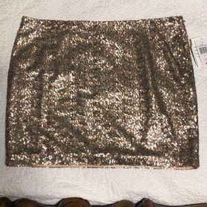 Women's rose copper sequin mini skirt